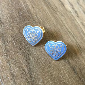 Vintage 80s Blue Heart Post Earrings